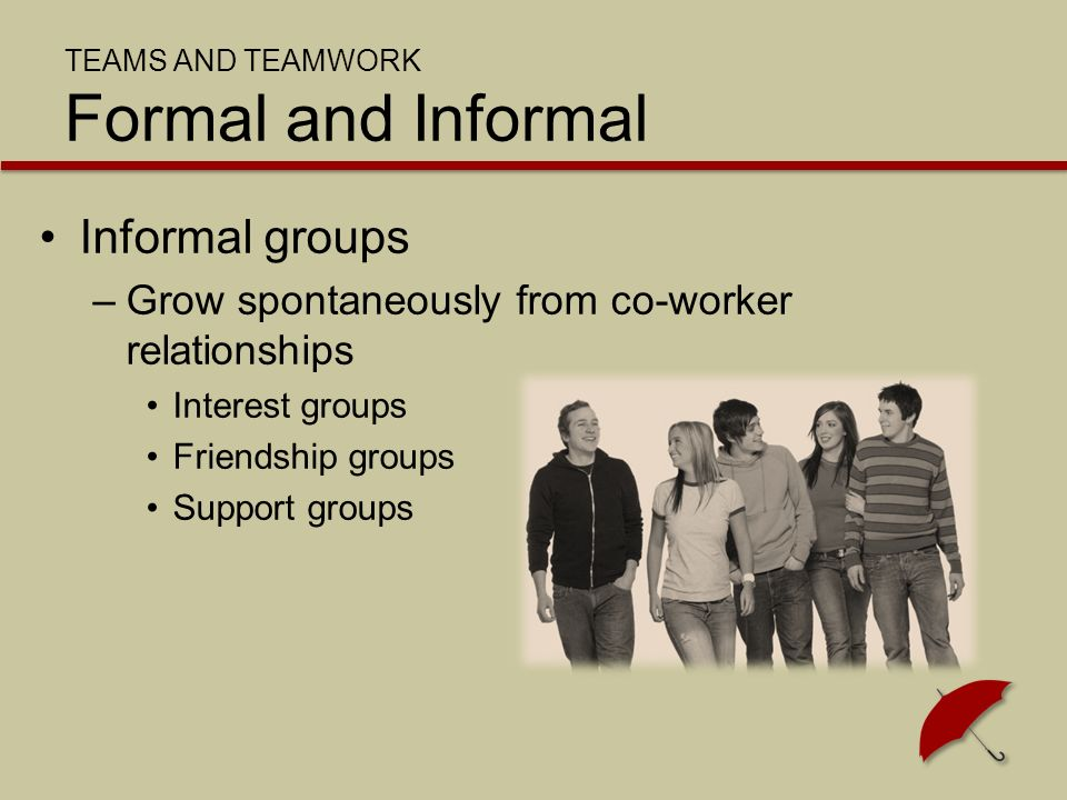 SUCCESSFUL TEAMWORK Performance Performance is affected by norms and cohesiveness –Norms Expected behaviors –Cohesiveness How committed team members are
