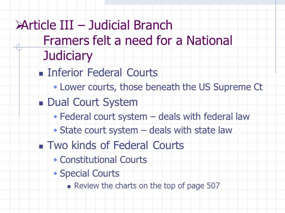  Article III – Judicial Branch Framers felt a need for a National Judiciary Inferior Federal Courts  Lower courts, those beneath the US Supreme Ct Dual Court System  Federal court system – deals with federal law  State court system – deals with state law Two kinds of Federal Courts  Constitutional Courts  Special Courts Review the charts on the top of page 507