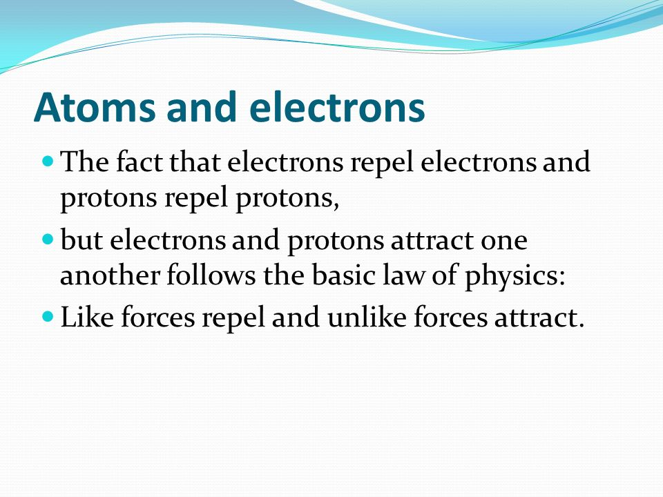 Atoms and electrons The fact that electrons repel electrons and protons repel protons, but electrons and protons attract one another follows the basic law of physics: Like forces repel and unlike forces attract.