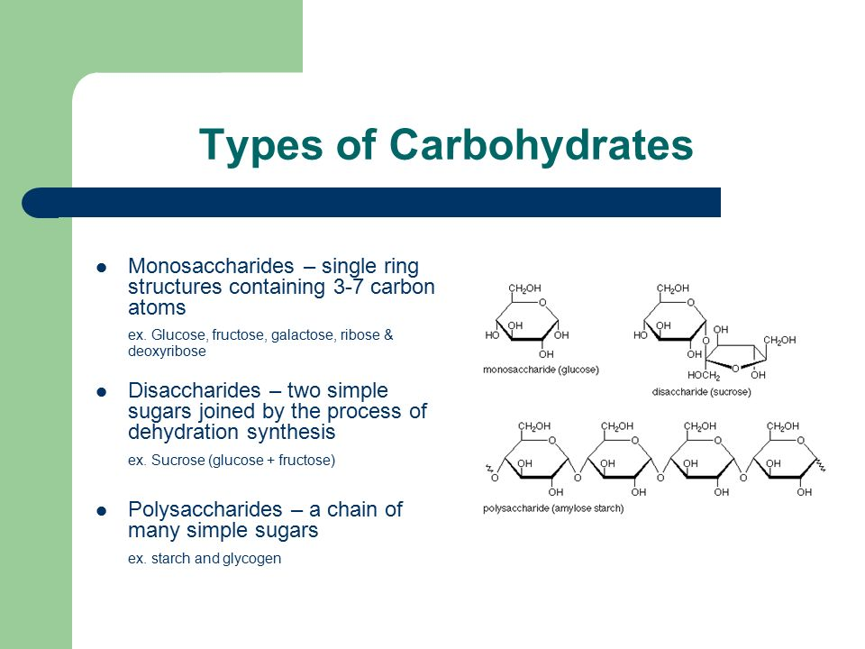 Types of Carbohydrates Monosaccharides – single ring structures containing 3-7 carbon atoms ex.