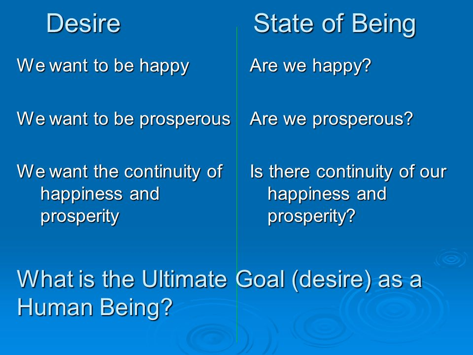 We want to be happy We want to be prosperous We want the continuity of happiness and prosperity Are we happy? Are we prosperous? Is there continuity o