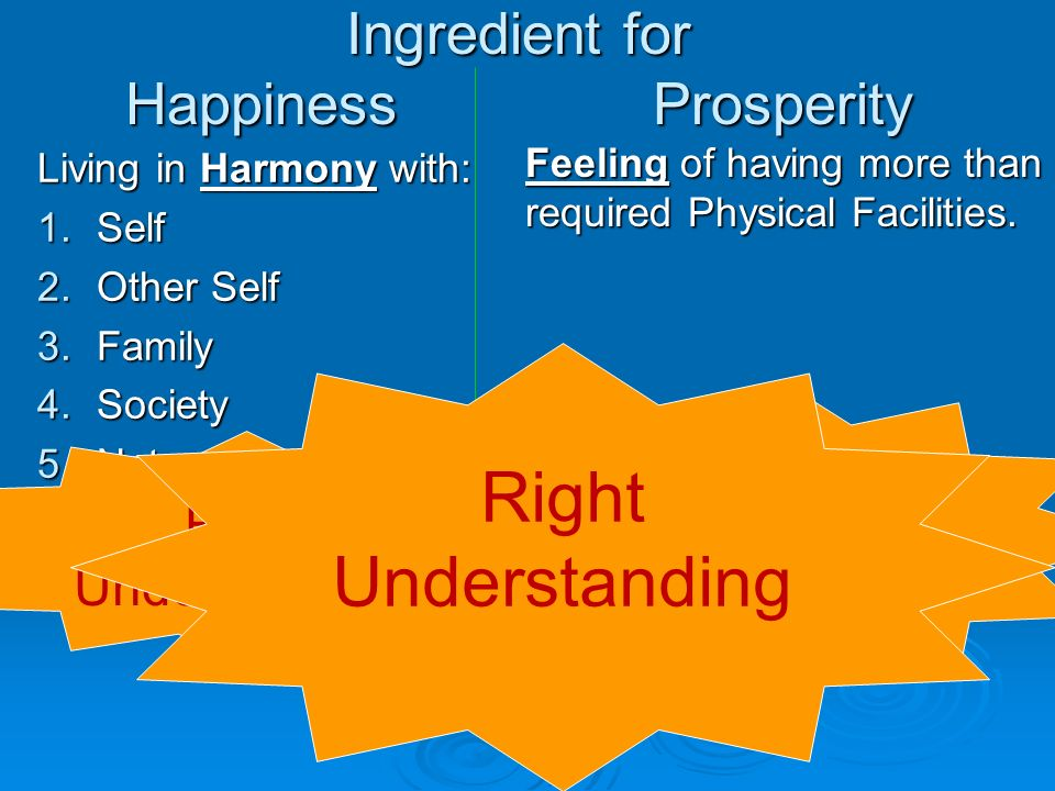 Living in Harmony with: 1.Self 2.Other Self 3.Family 4.Society 5.Nature 6.Universe Feeling of having more than required Physical Facilities. Ingredien
