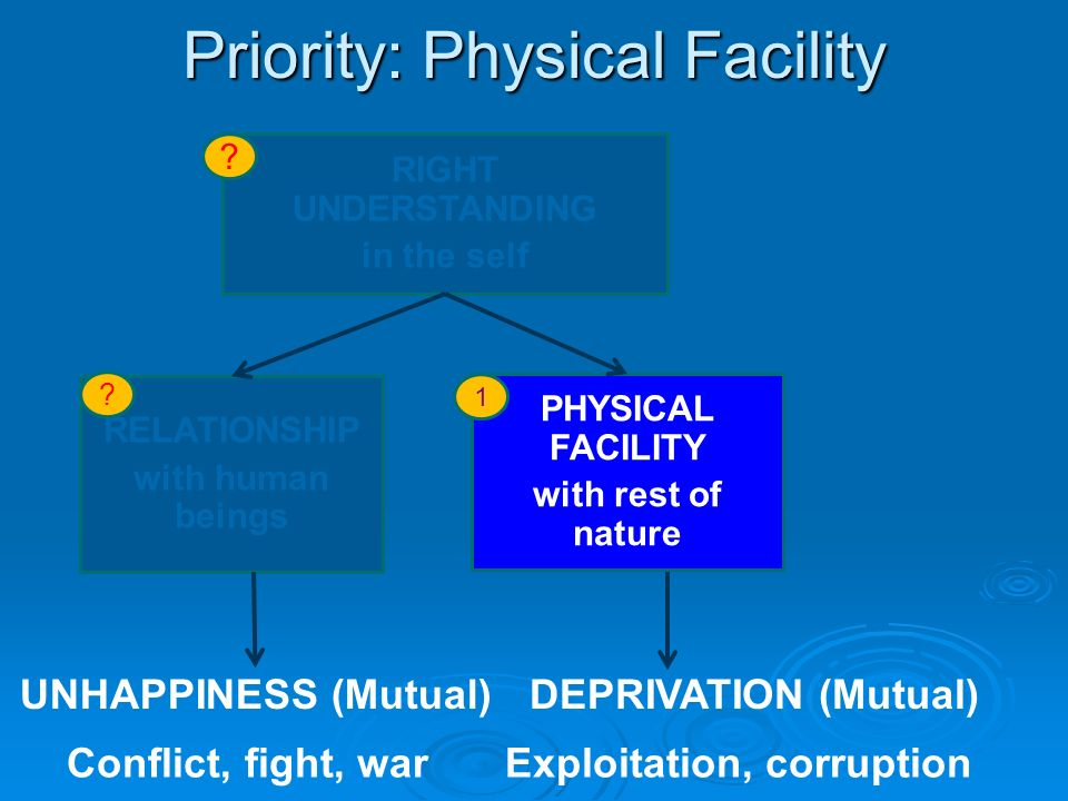 RELATIONSHIP with human beings PHYSICAL FACILITY with rest of nature RIGHT UNDERSTANDING in the self 1 ? ? Priority: Physical Facility UNHAPPINESS (Mu