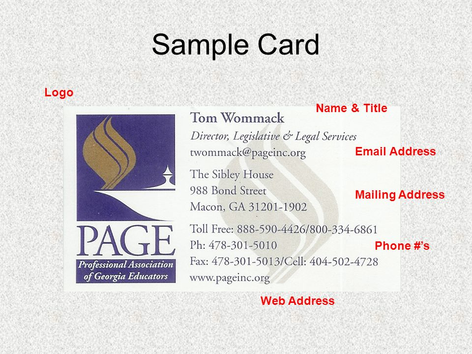 Creating a Business Card Ruby Ann Sawyer, Brantley County Middle ...