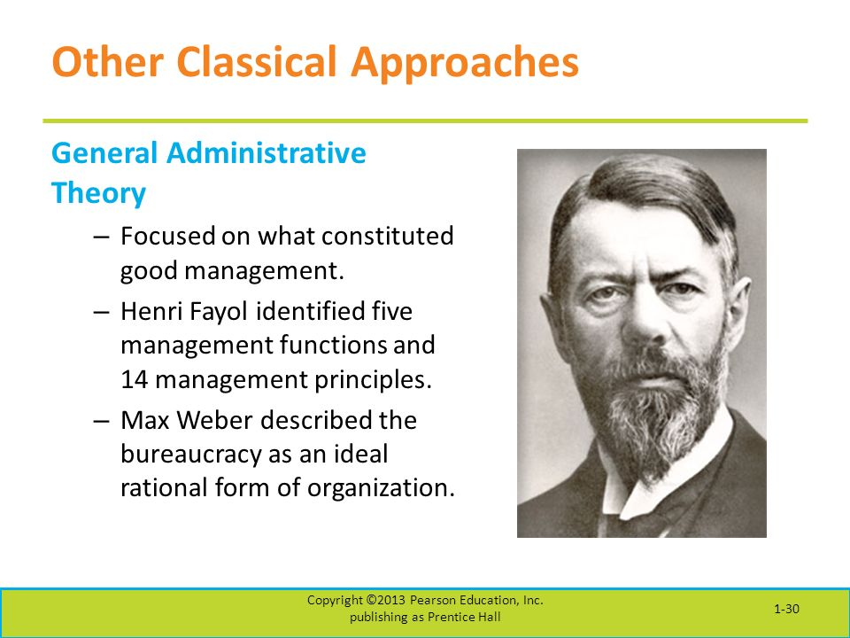 Other Classical Approaches General Administrative Theory – Focused on what constituted good management.