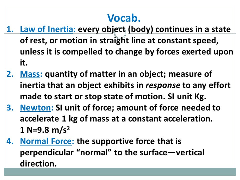 Agenda 1 WarmUp 5 min 2 Coupons 3 Vocab Words 10 min 4 – Inertia Worksheet