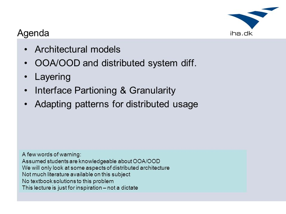 presentation architectural design for distributed systems