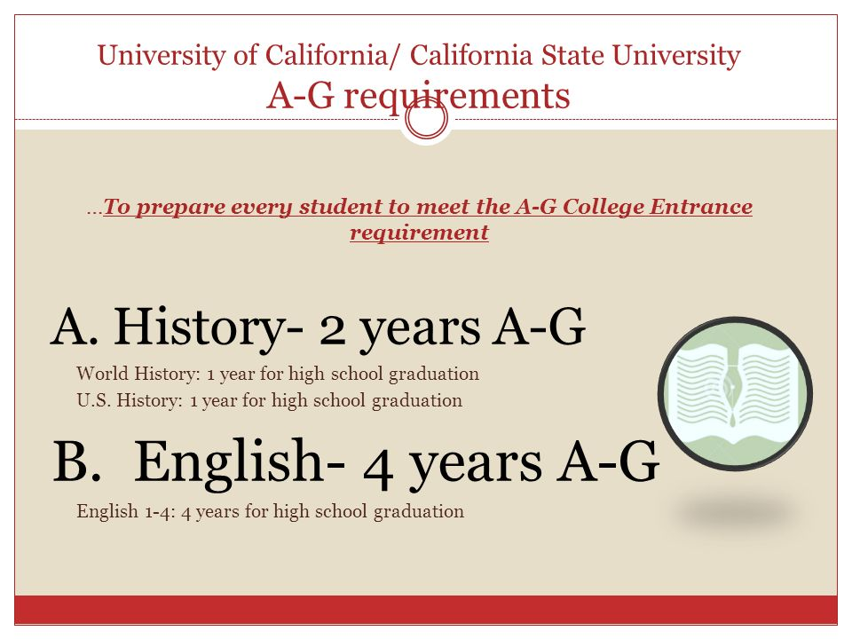 University of california a-g requirements