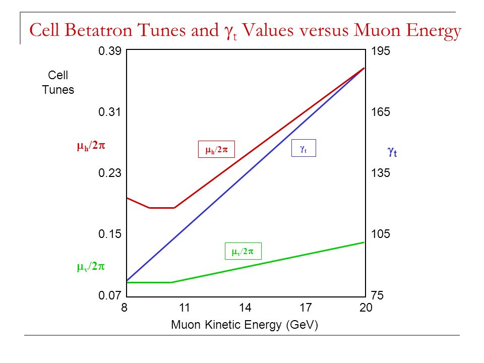  h /2  tt  v /2   h /2  tt  v /2  Cell Tunes Muon Kinetic Energy (GeV) Cell Betatron Tunes and  t Values versus Muon Energy