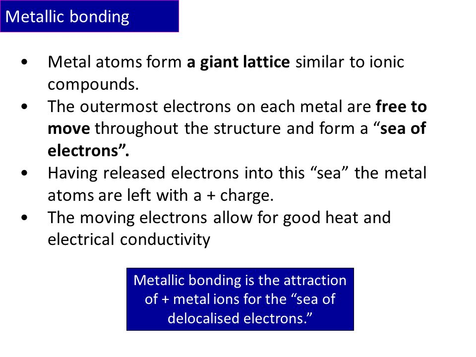 Metallic Bonding This is the type of bonding found in metals ...