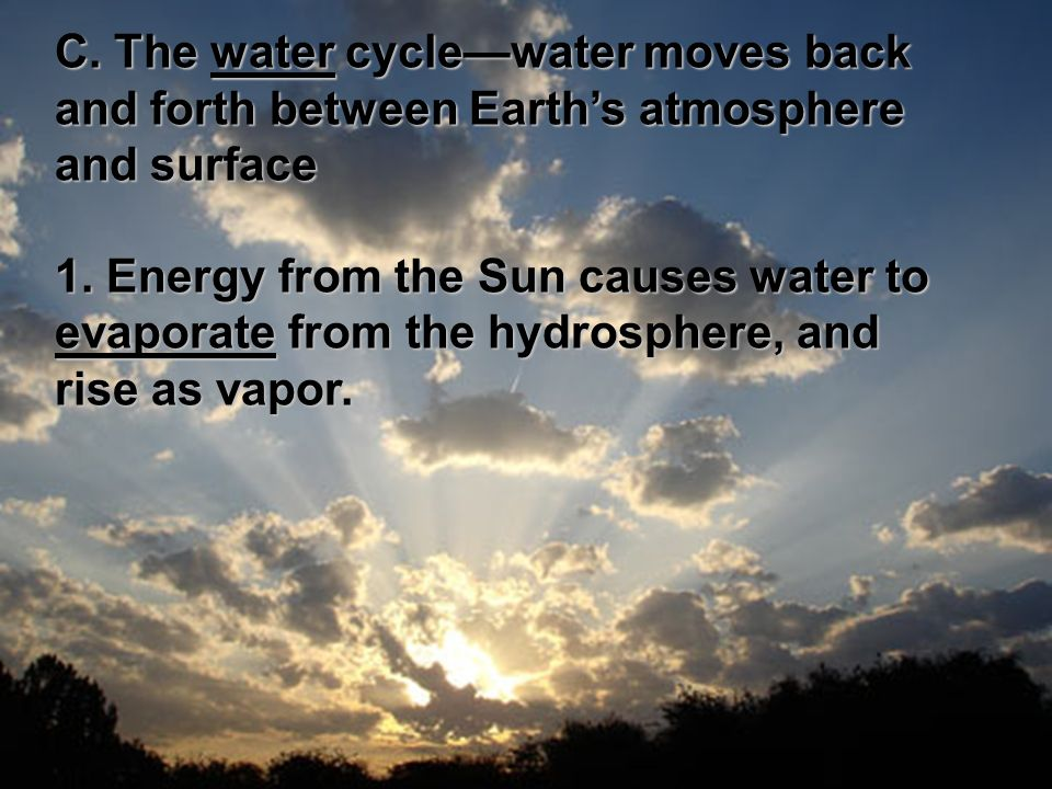 C. The water cycle—water moves back and forth between Earth's atmosphere and surface 1.