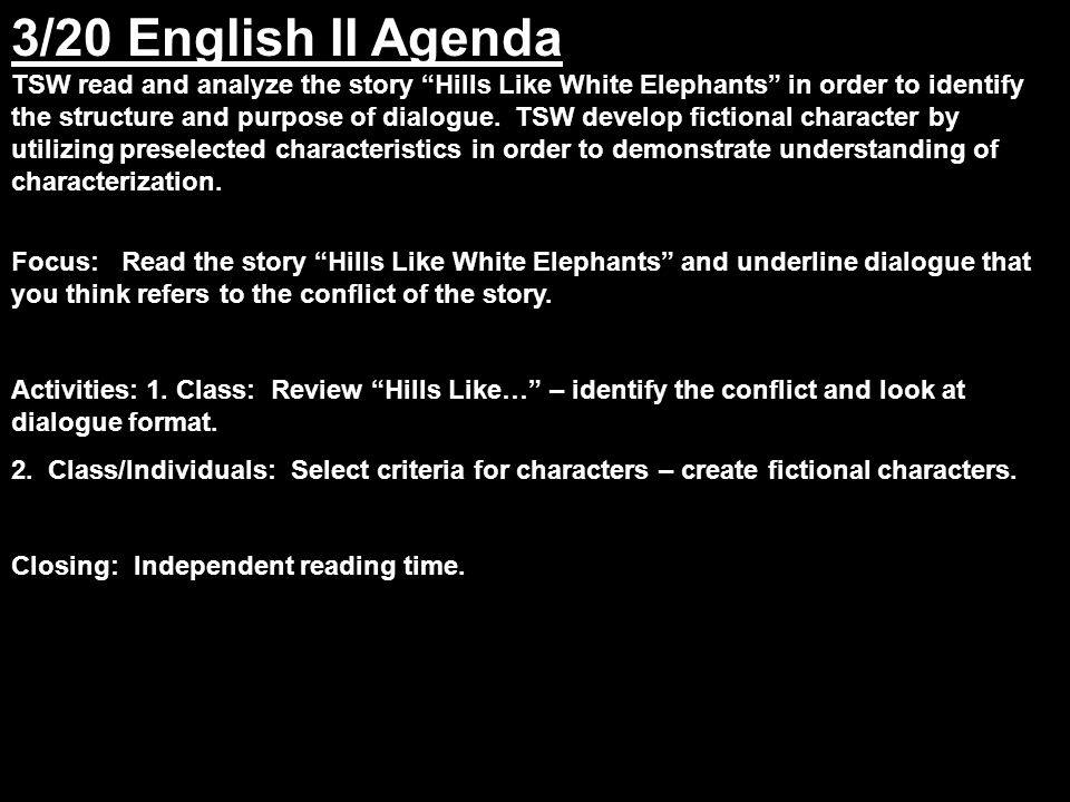 fiction analysis hills like white elephants Read this essay on hills like white elephants literary analysis come browse our large digital warehouse of free sample essays get the knowledge you need in order to pass your classes and more.
