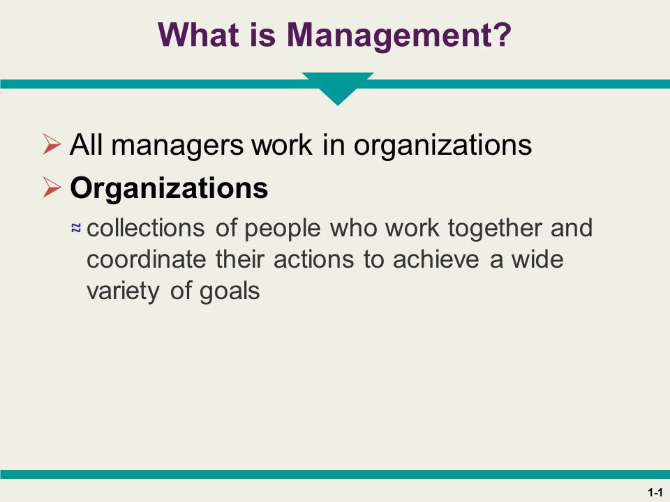 1-1 What is Management?  All managers work in organizations  Organizations ≈ collections of people who work together and coordinate their actions to