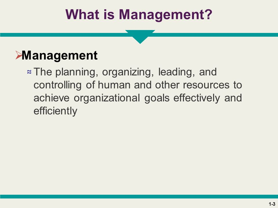 1-3 What is Management?  Management ≈ The planning, organizing, leading, and controlling of human and other resources to achieve organizational goals