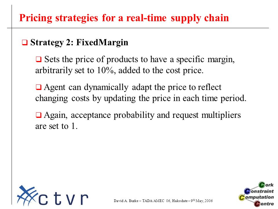 Pricing strategies for a real-time supply chain  Strategy 2: FixedMargin  Sets the price of products to have a specific margin, arbitrarily set to 10%, added to the cost price.