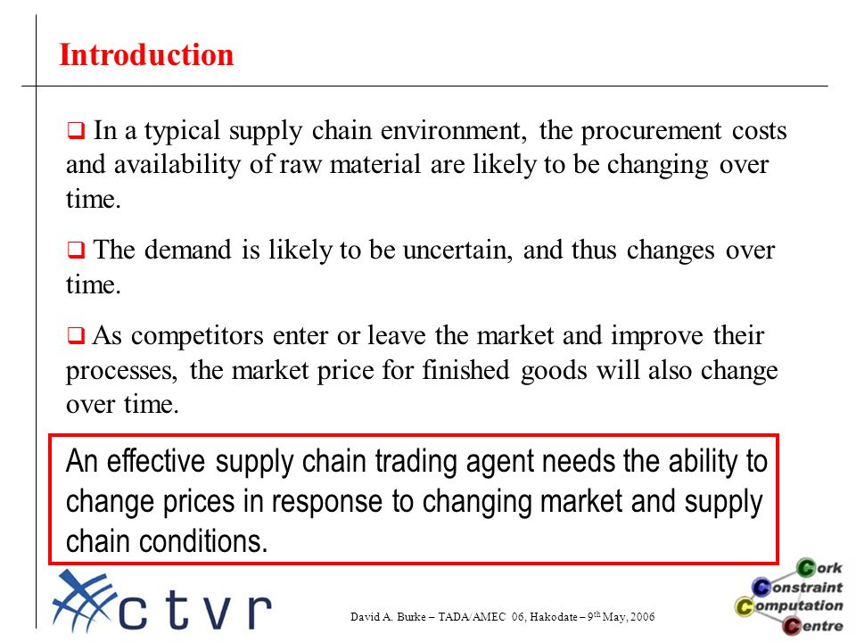 Introduction  In a typical supply chain environment, the procurement costs and availability of raw material are likely to be changing over time.