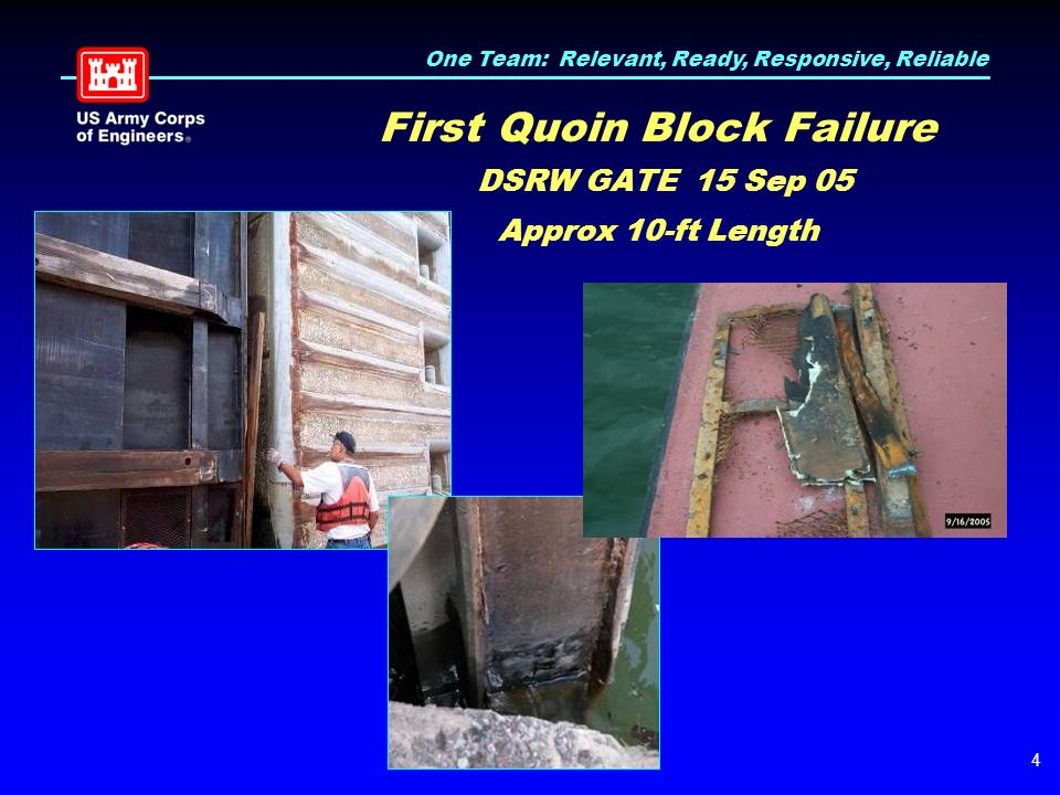 One Team: Relevant, Ready, Responsive, Reliable 4 First Quoin Block Failure DSRW GATE 15 Sep 05 Approx 10-ft Length