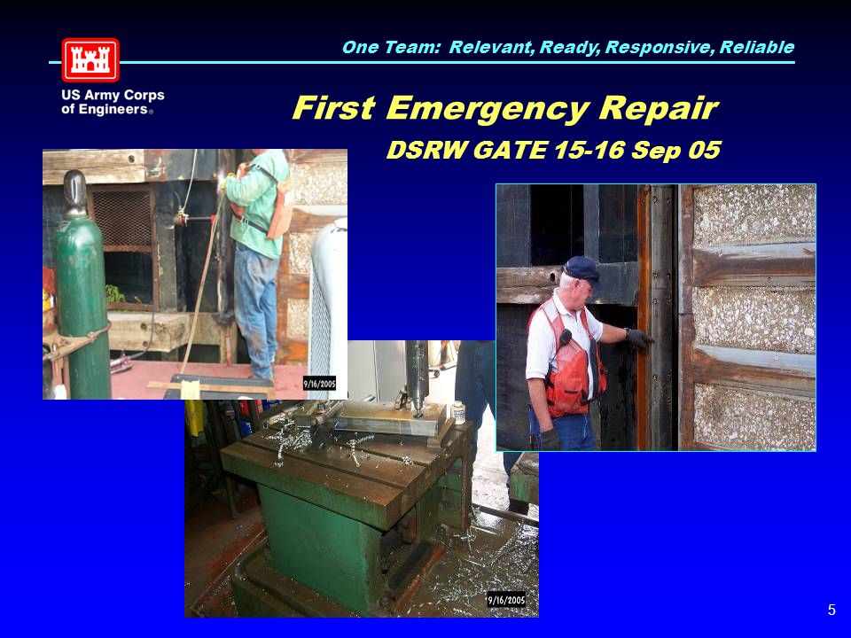 One Team: Relevant, Ready, Responsive, Reliable 5 First Emergency Repair DSRW GATE 15-16 Sep 05