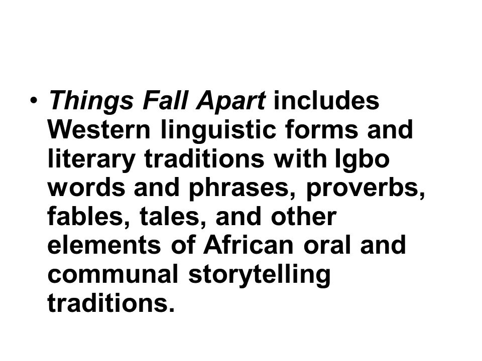 things fall apart oppression Achebe published things fall apart in 1958, and the novel exposed the corruption and oppression that was going on in british-controlled nigeria in the mid-20th century.