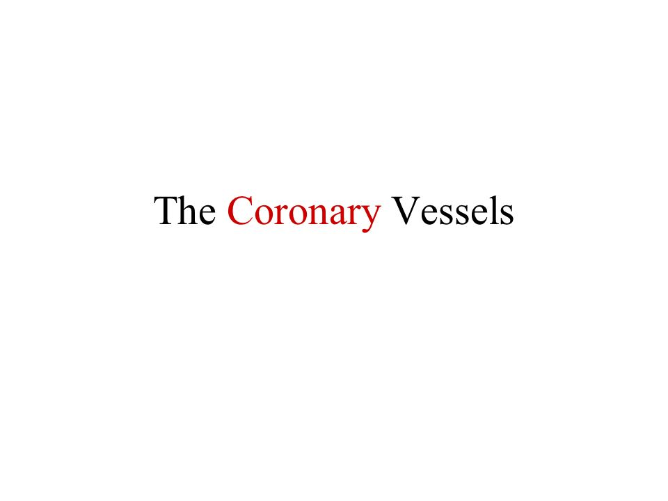 The Coronary Vessels