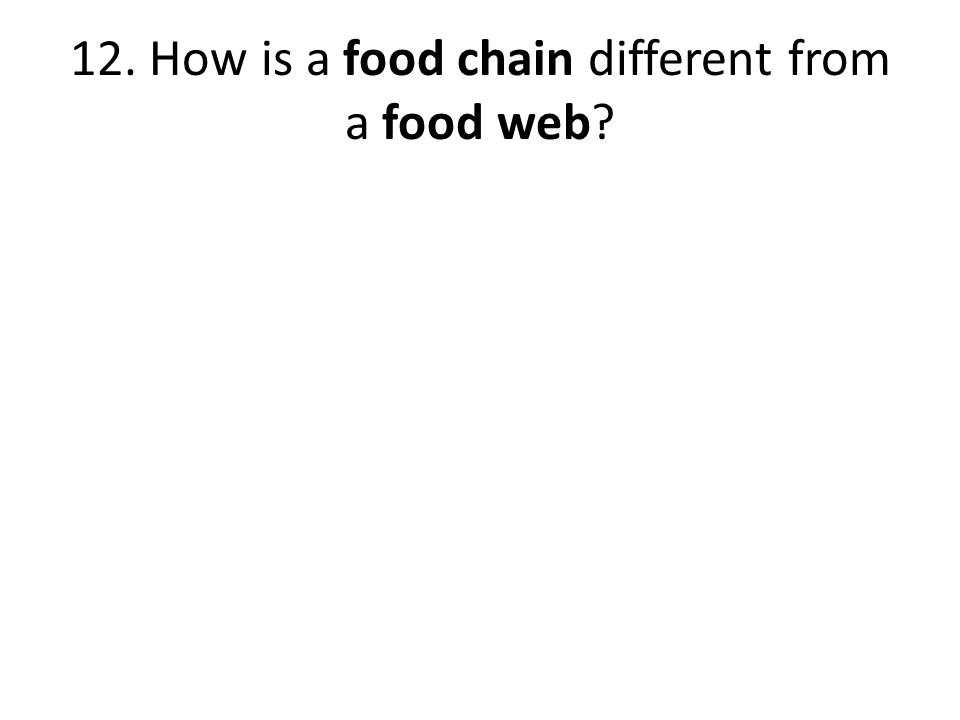 12. How is a food chain different from a food web