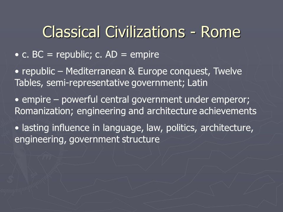 Classical Civilizations - Rome c. BC = republic; c.
