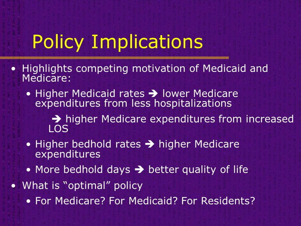 Policy Implications Highlights competing motivation of Medicaid and Medicare: Higher Medicaid rates  lower Medicare expenditures from less hospitalizations  higher Medicare expenditures from increased LOS Higher bedhold rates  higher Medicare expenditures More bedhold days  better quality of life What is optimal policy For Medicare.