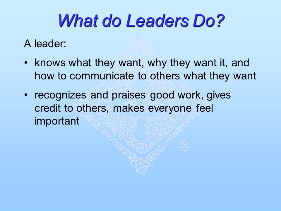 What do Leaders Do? A leader: knows what they want, why they want it, and how to communicate to others what they want recognizes and praises good work
