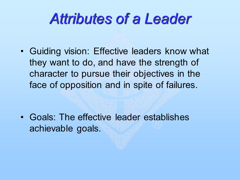 Attributes of a Leader Guiding vision: Effective leaders know what they want to do, and have the strength of character to pursue their objectives in the face of opposition and in spite of failures.