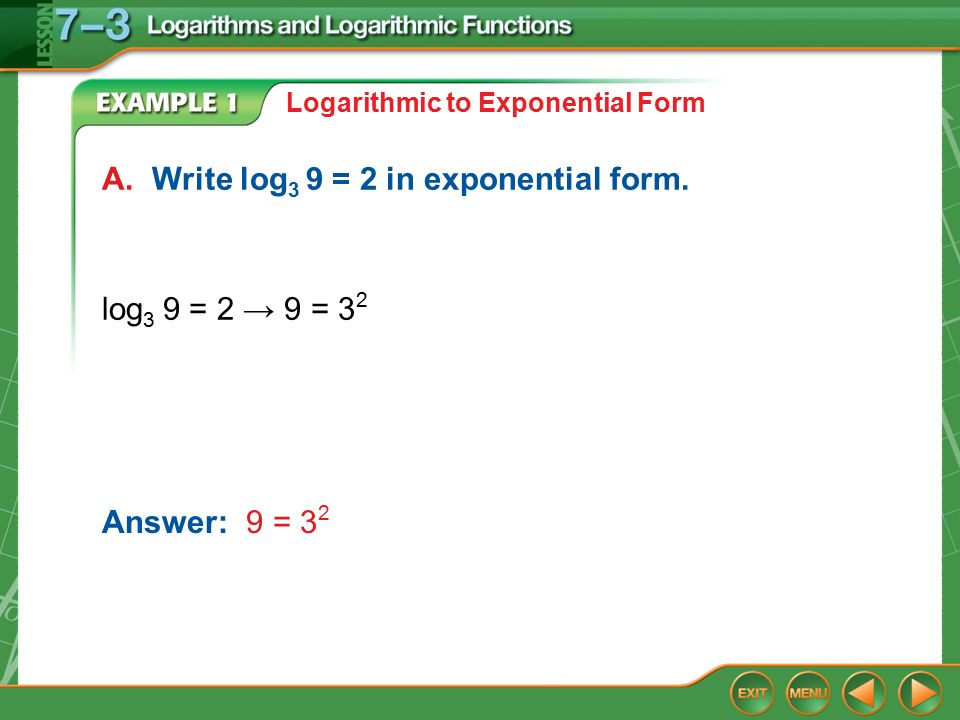 Splash Screen. Concept Example 1 Logarithmic to Exponential Form A ...