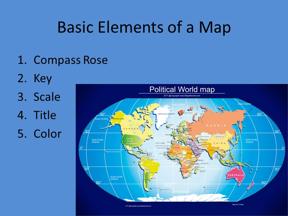 World Geography Basic Elements Of A Map Compass Rose Key - Basic world map