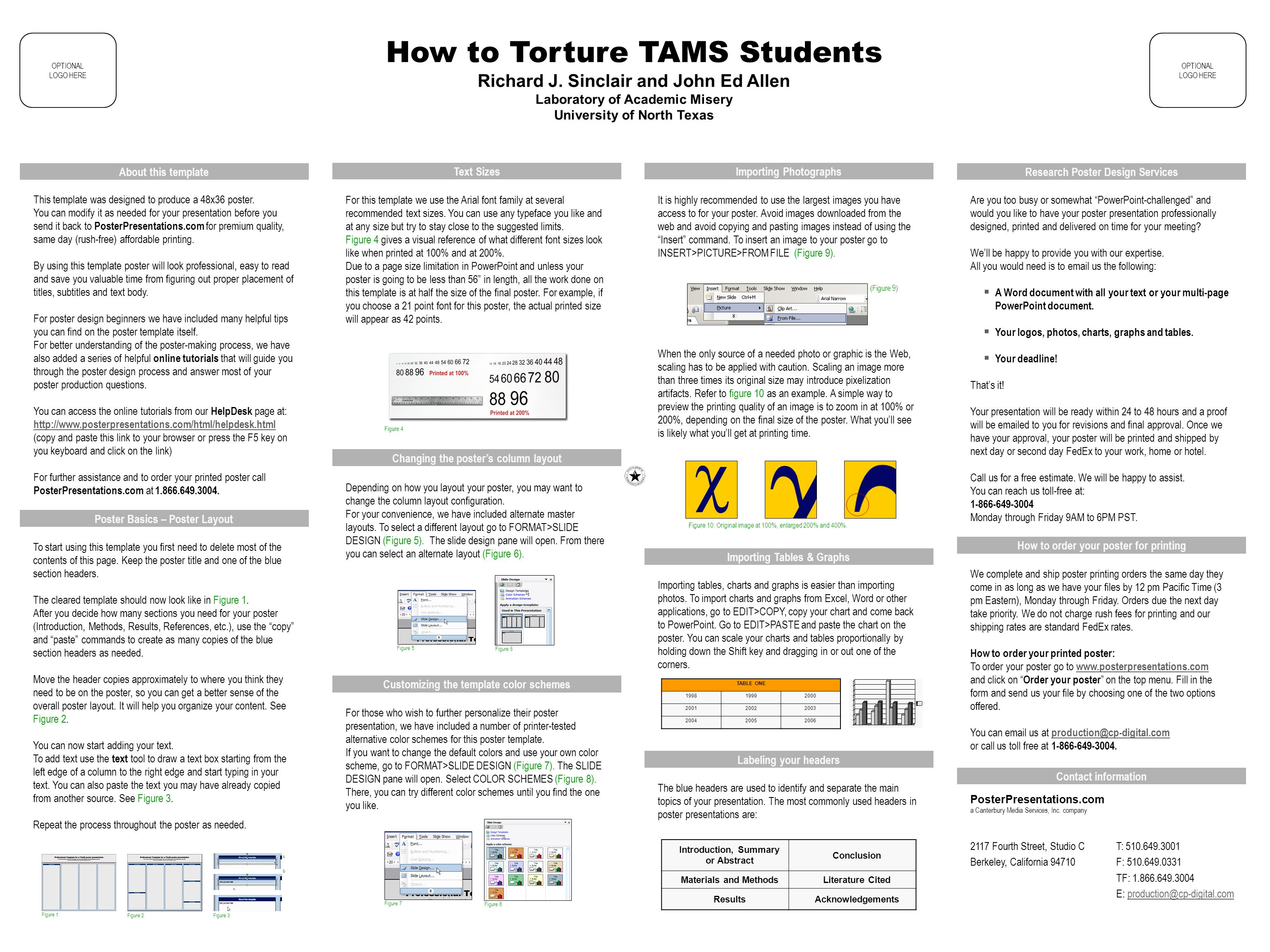 Poster presentation text size