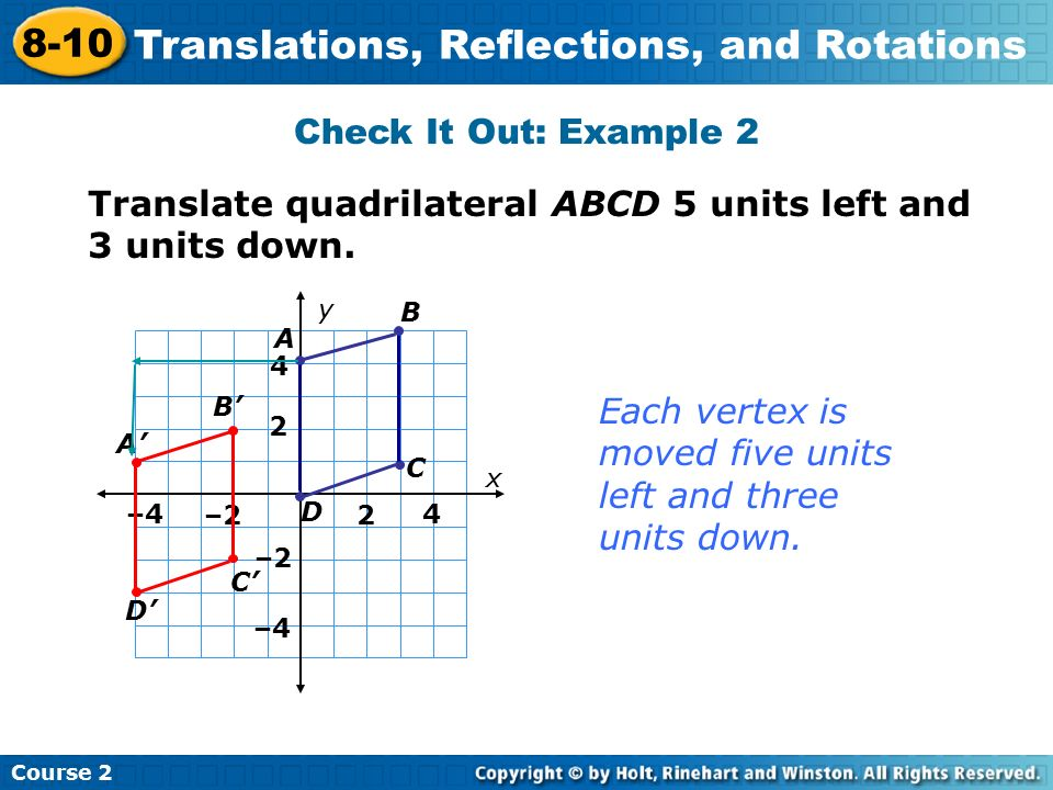 Check It Out: Example 2 Insert Lesson Title Here Translate quadrilateral ABCD 5 units left and 3 units down.