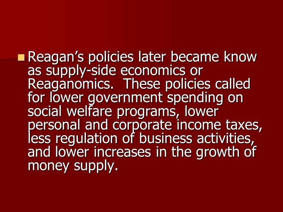 an introduction to the theory behind reaganomics