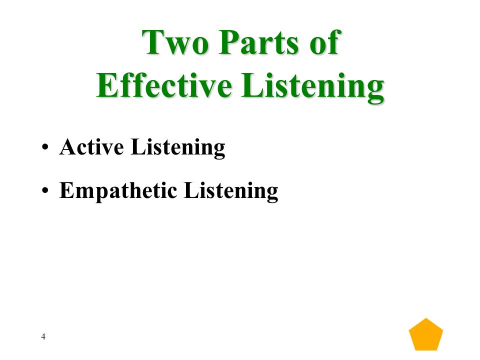 4 Two Parts of Effective Listening Active Listening Empathetic Listening