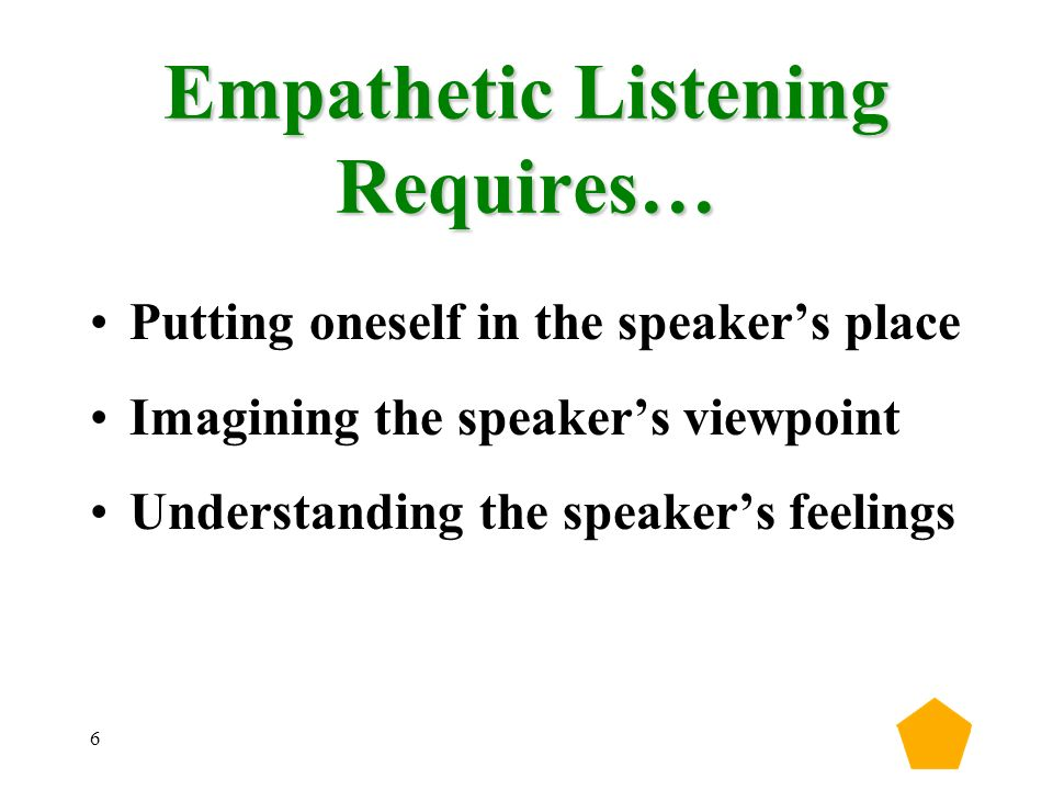 6 Empathetic Listening Requires… Putting oneself in the speaker's place Imagining the speaker's viewpoint Understanding the speaker's feelings