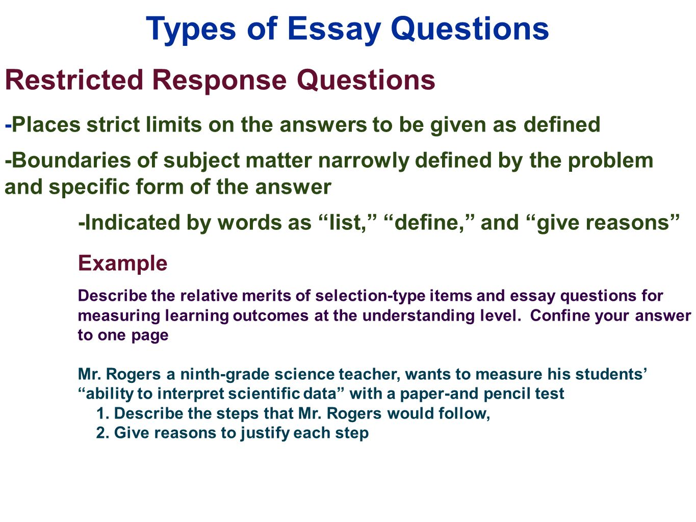 edu session writing supply items short answer and essay 21 types of essay questions