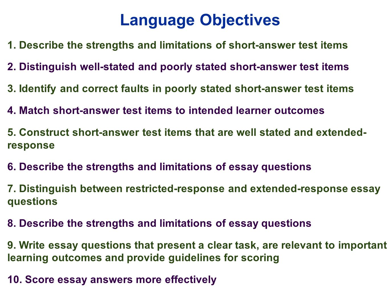 edu 385 session 10 writing supply items short answer and essay describe the strengths and limitations of short answer test items 2