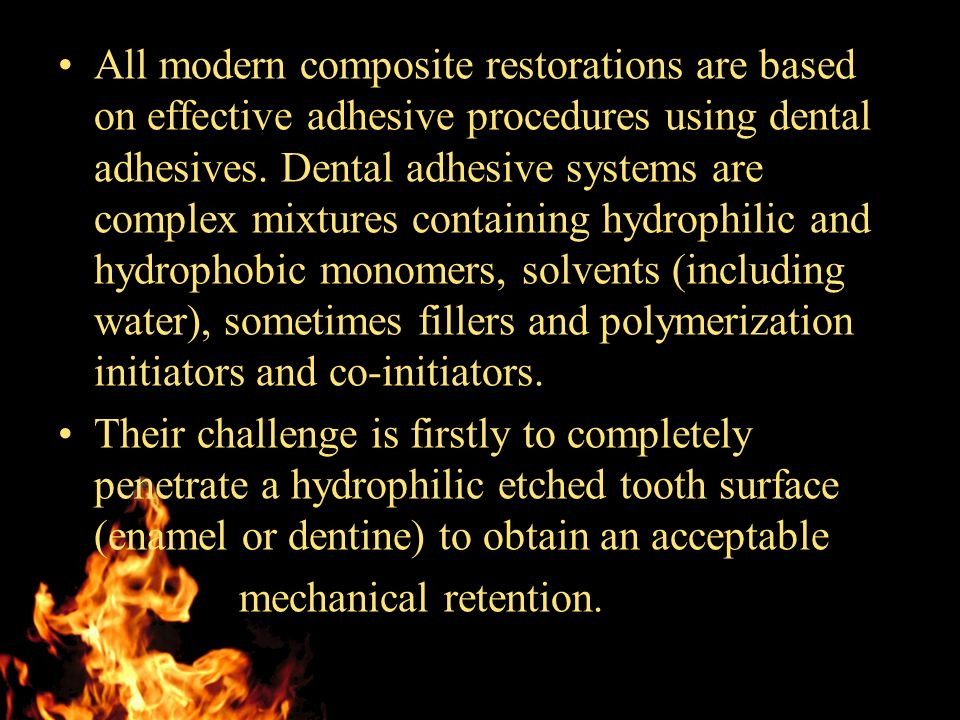 All modern composite restorations are based on effective adhesive procedures using dental adhesives.