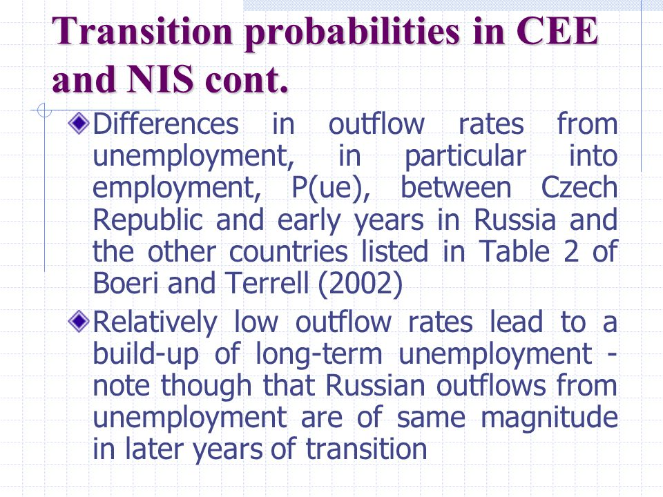 Transition probabilities in CEE and NIS cont.