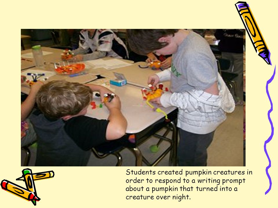Students created pumpkin creatures in order to respond to a writing prompt about a pumpkin that turned into a creature over night.