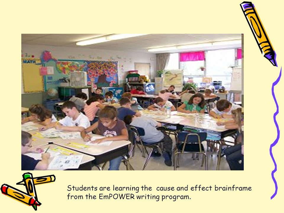 Students are learning the cause and effect brainframe from the EmPOWER writing program.