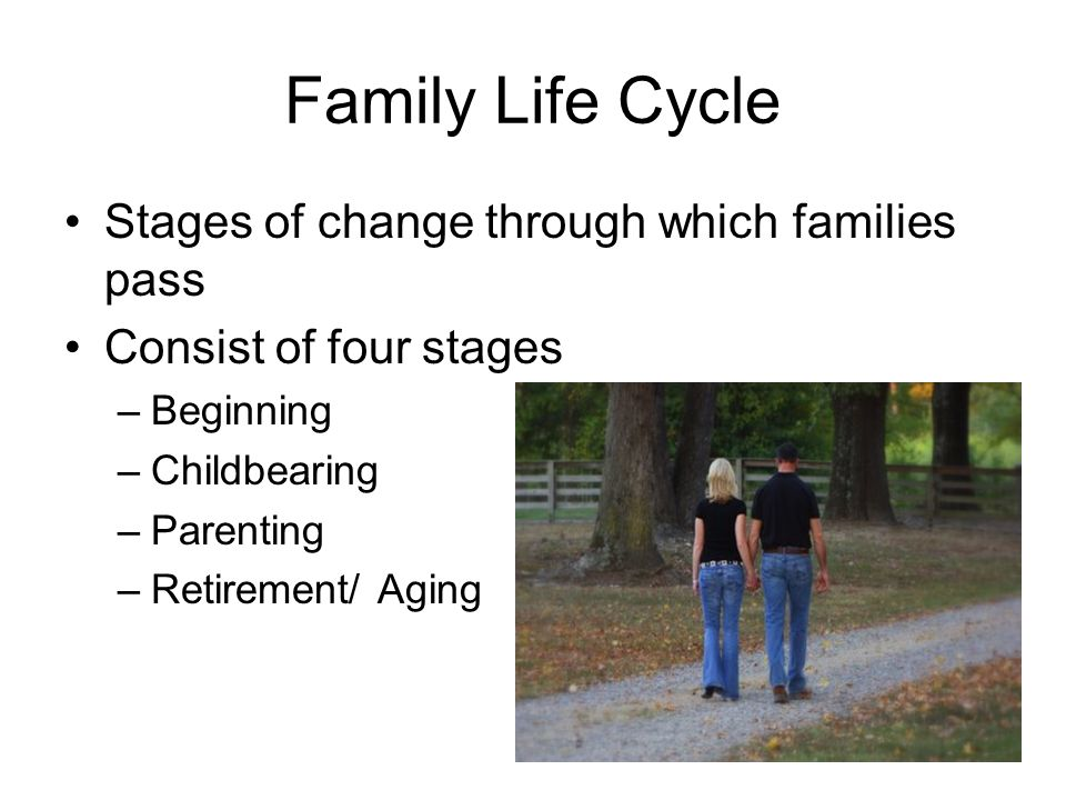 Family Life Cycle Stages of change through which families pass Consist of four stages –Beginning –Childbearing –Parenting –Retirement/ Aging