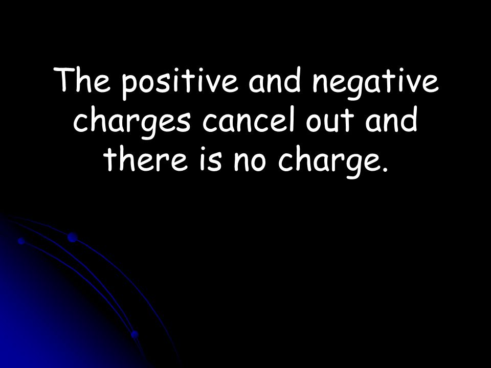The positive and negative charges cancel out and there is no charge.