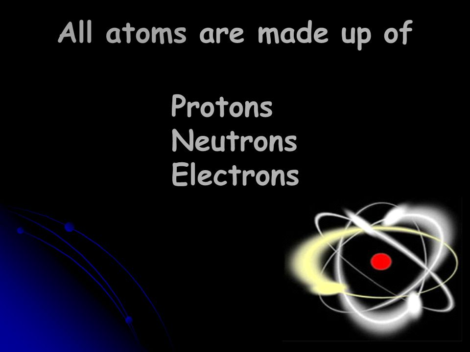 Protons Neutrons Electrons All atoms are made up of