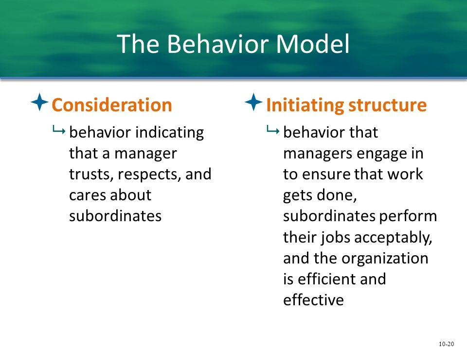 10-20 The Behavior Model  Consideration  behavior indicating that a manager trusts, respects, and cares about subordinates  Initiating structure  behavior that managers engage in to ensure that work gets done, subordinates perform their jobs acceptably, and the organization is efficient and effective