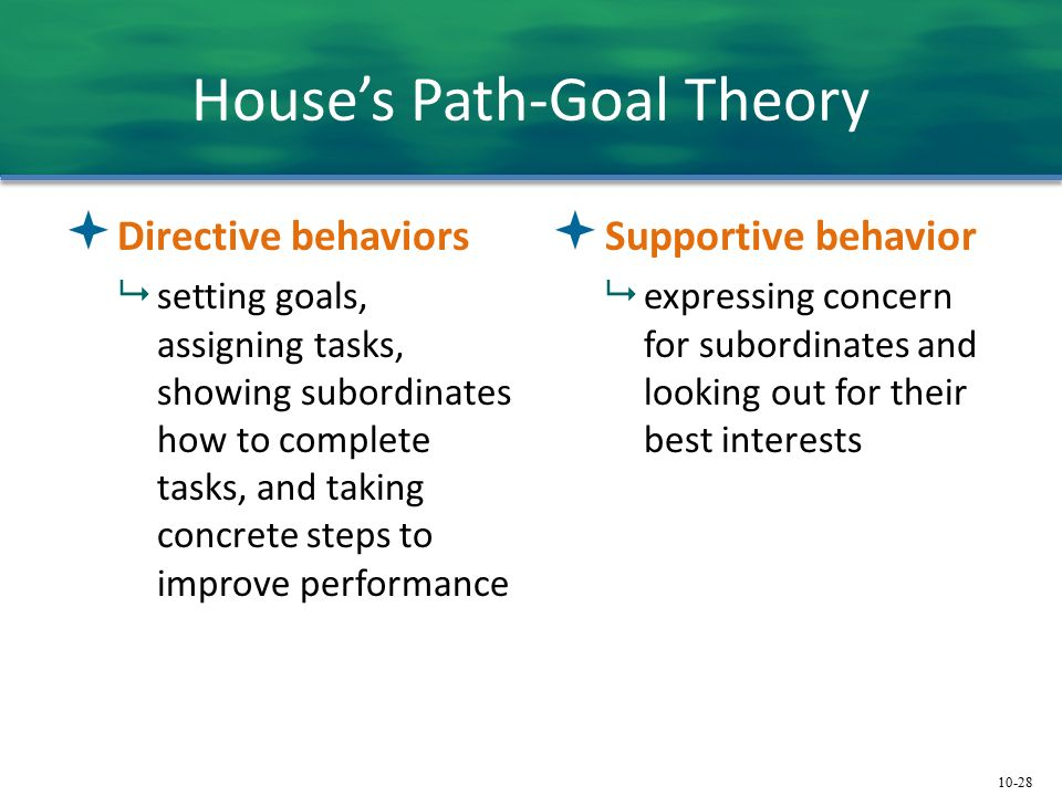10-28 House's Path-Goal Theory  Directive behaviors  setting goals, assigning tasks, showing subordinates how to complete tasks, and taking concrete steps to improve performance  Supportive behavior  expressing concern for subordinates and looking out for their best interests