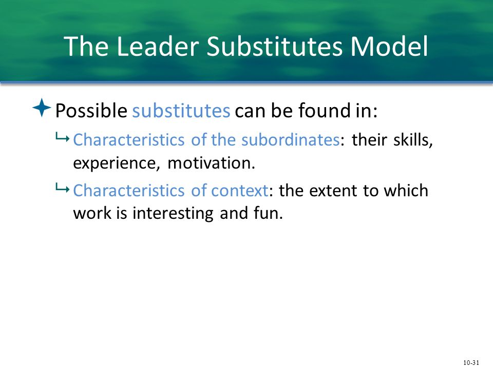 10-31 The Leader Substitutes Model  Possible substitutes can be found in:  Characteristics of the subordinates: their skills, experience, motivation.