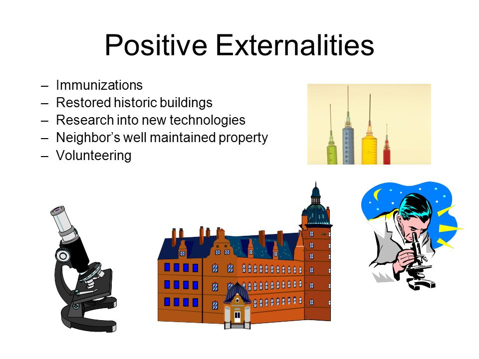 Positive Externalities –Immunizations –Restored historic buildings –Research into new technologies –Neighbor's well maintained property –Volunteering