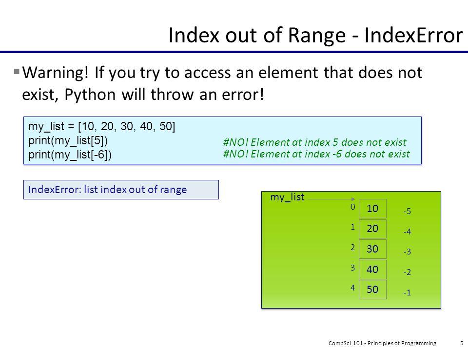 list index out of range python